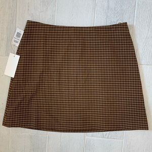 Wilfred New Classic A-Line Mini Skirt Brown Plaid